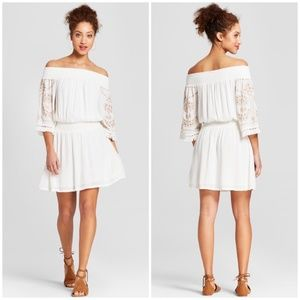 NWT Off the Shoulder Off White Bell Sleeve Dress S